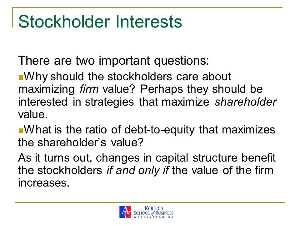 Stockholder Interests