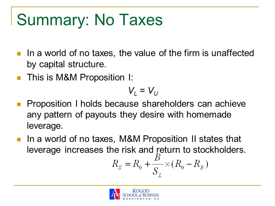 Summary: No Taxes In a world of no taxes, the value of the firm is unaffected by capital structure.