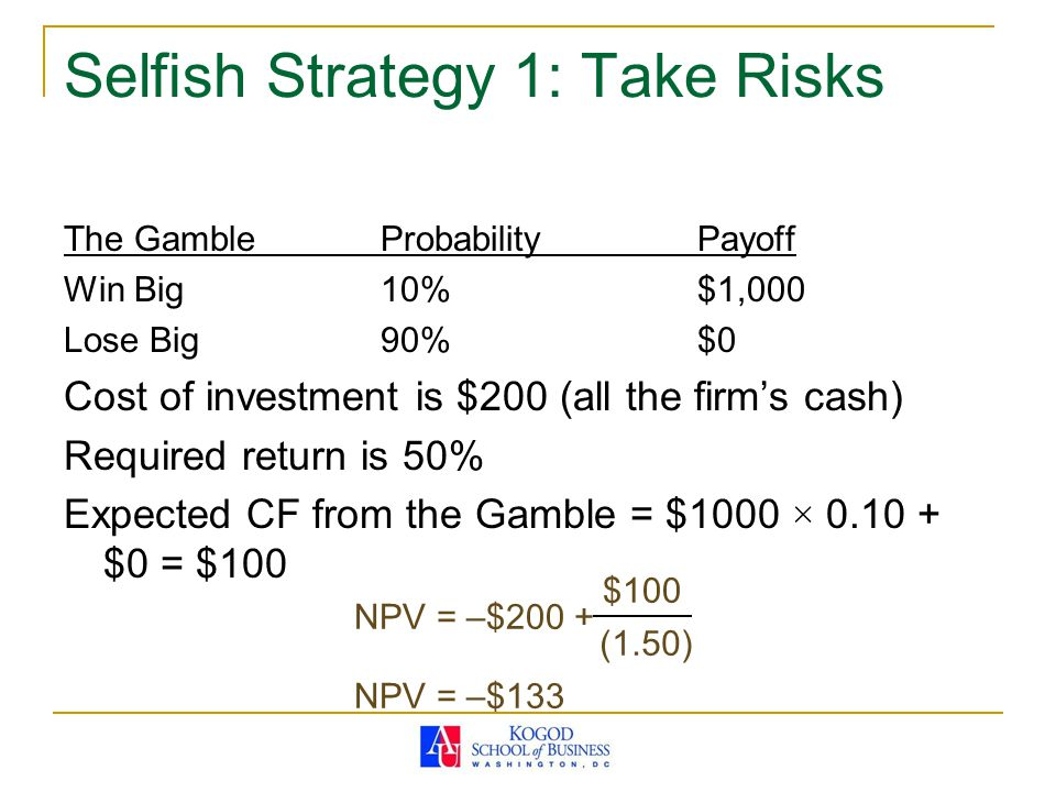 Selfish Strategy 1: Take Risks