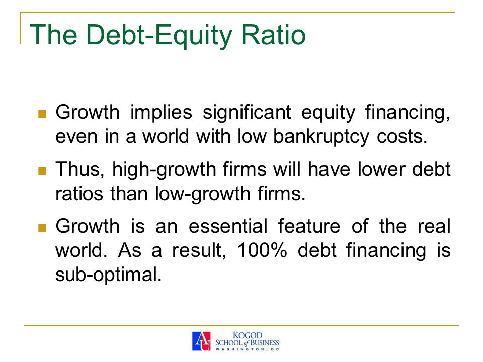 The Debt-Equity Ratio Growth implies significant equity financing, even in a world with low bankruptcy costs.