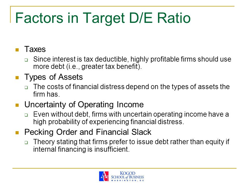 Factors in Target D/E Ratio
