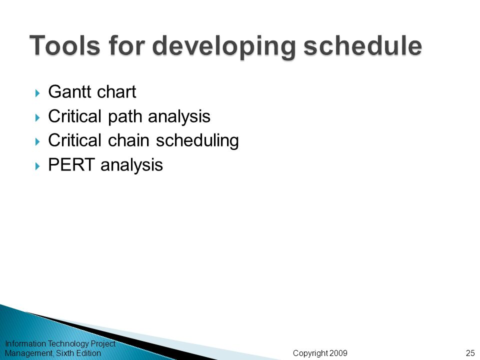 Tools for developing schedule