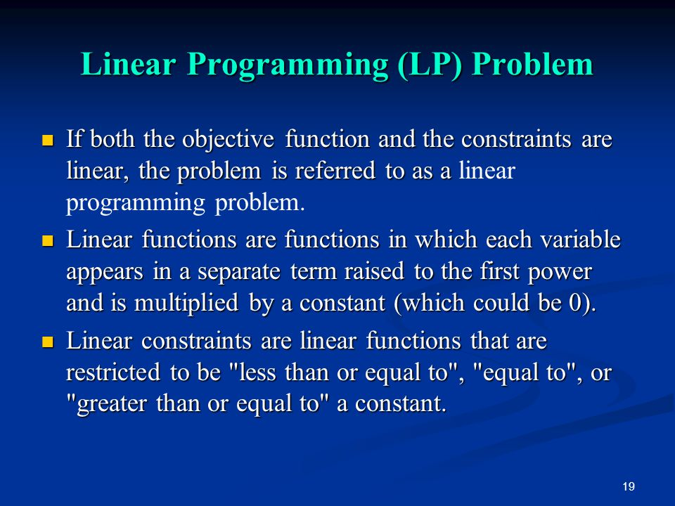 Linear Programming (LP) Problem