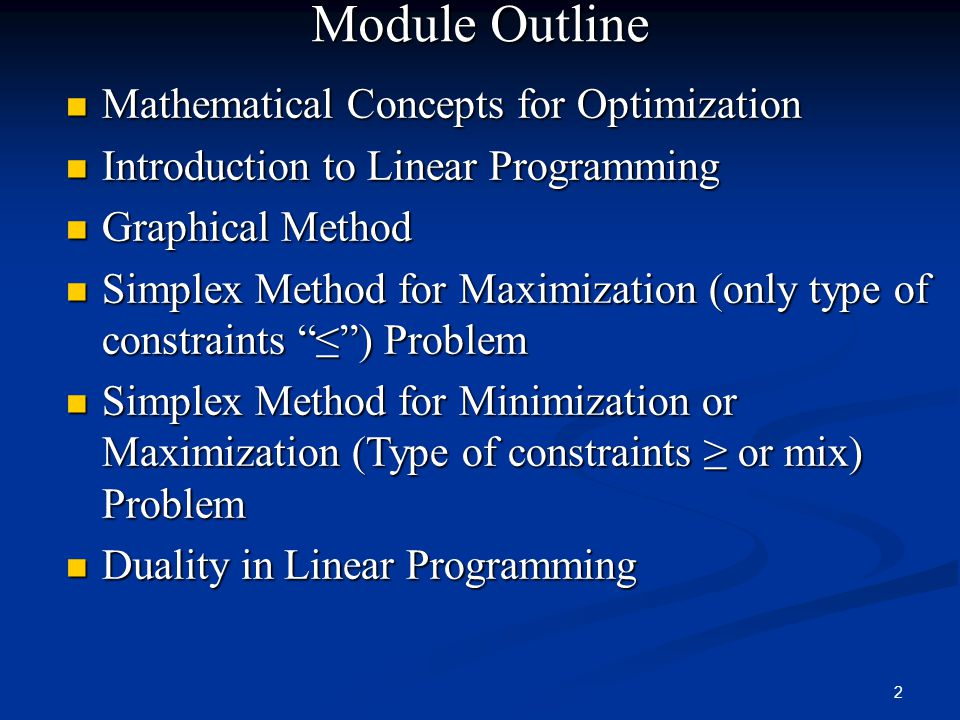 Module Outline Mathematical Concepts for Optimization