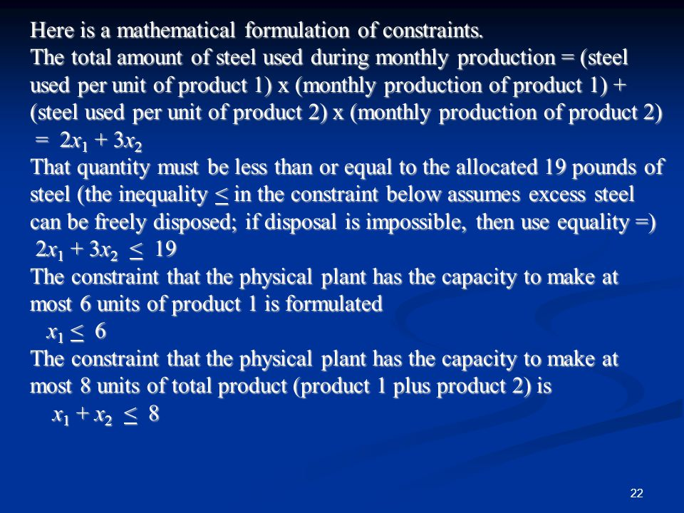 Here is a mathematical formulation of constraints.