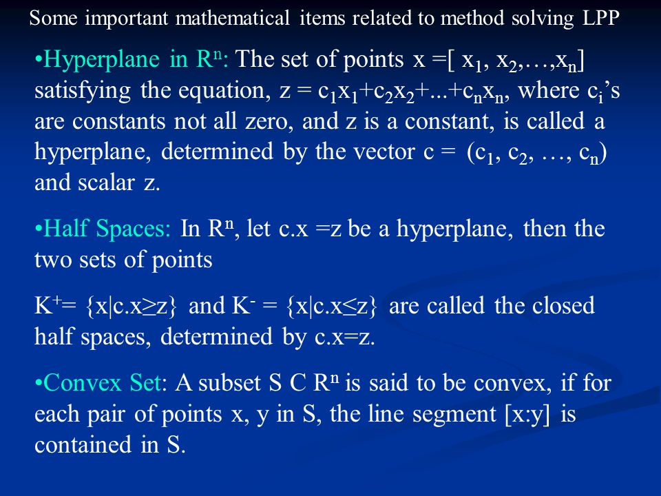 Some important mathematical items related to method solving LPP
