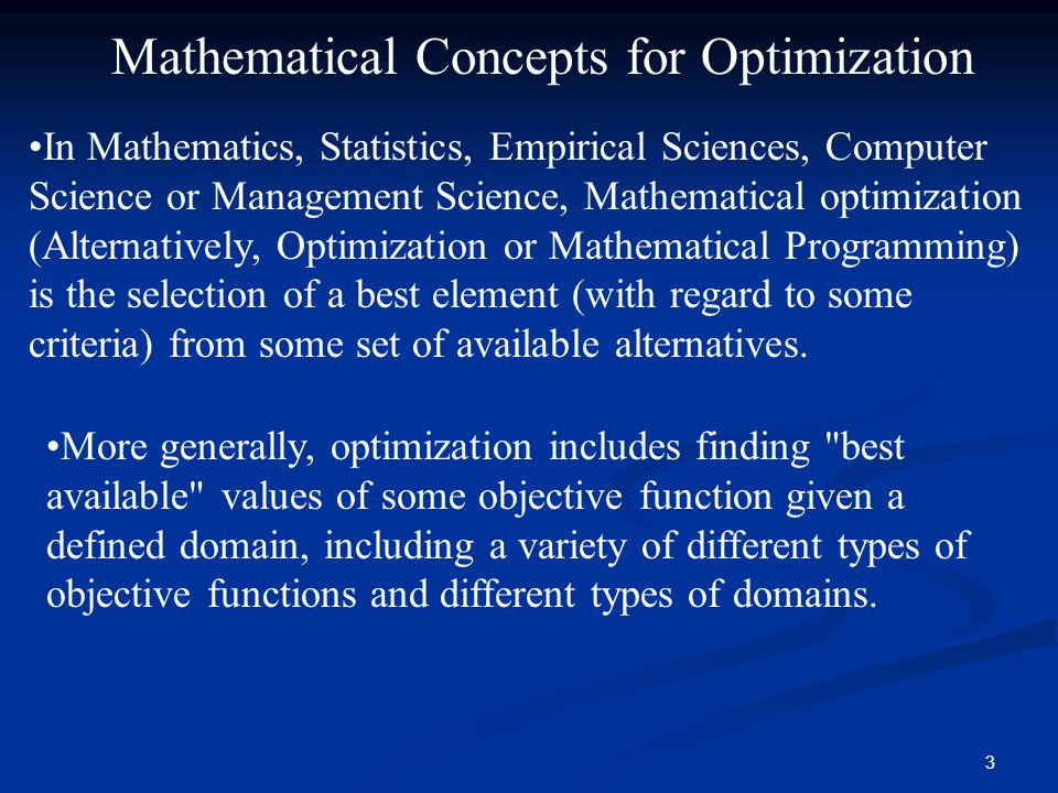 Mathematical Concepts for Optimization
