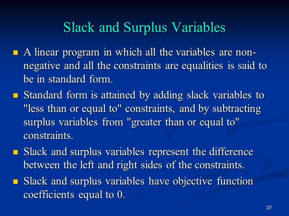Slack and Surplus Variables