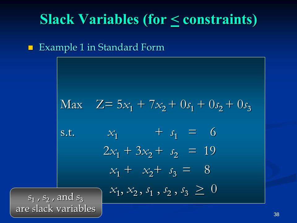 Slack Variables (for < constraints)