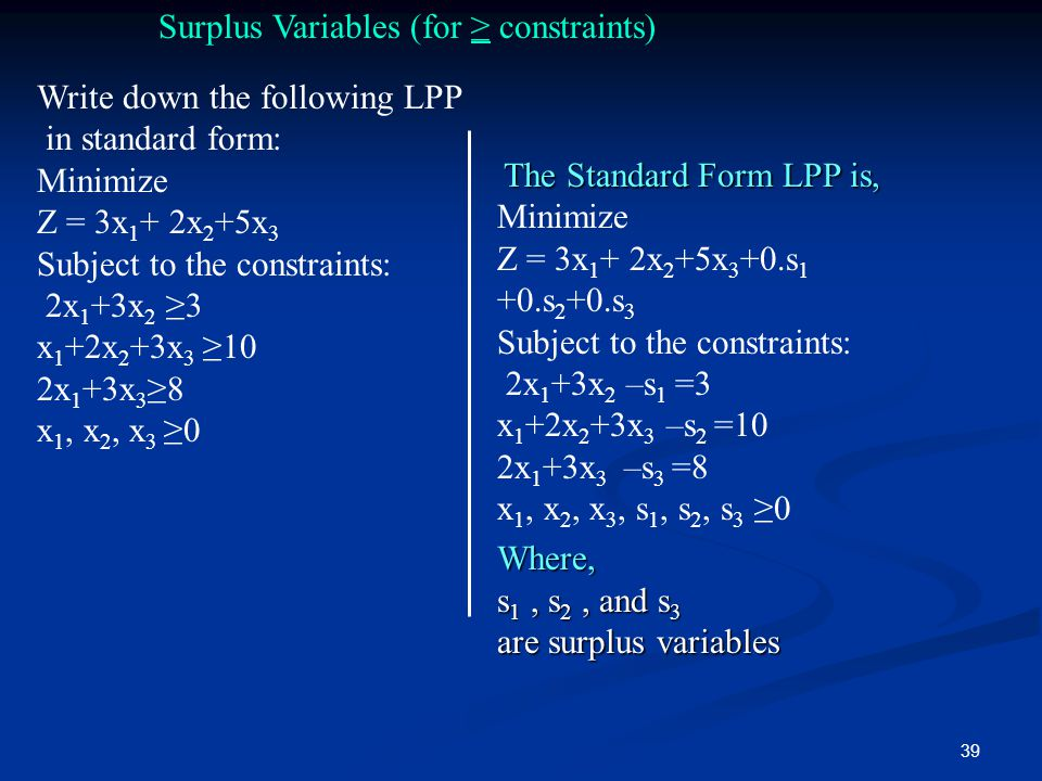 Surplus Variables (for ≥ constraints)