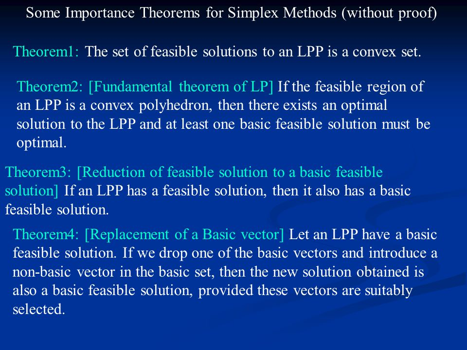 Some Importance Theorems for Simplex Methods (without proof)