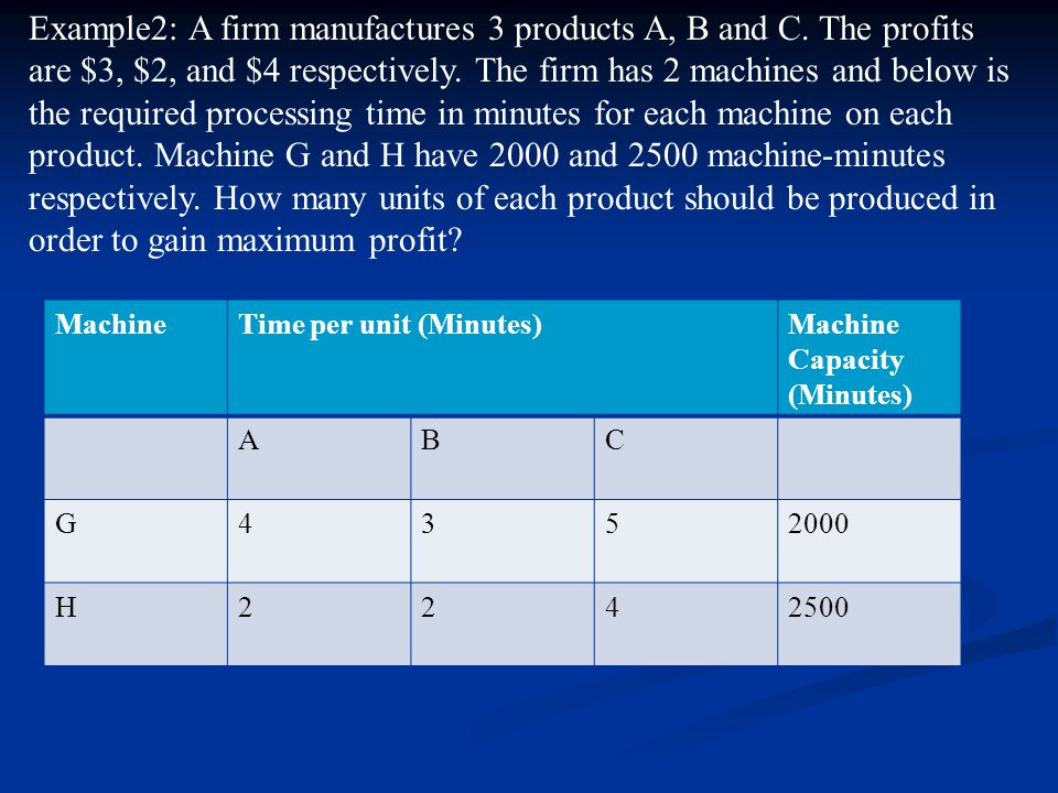 Example2: A firm manufactures 3 products A, B and C