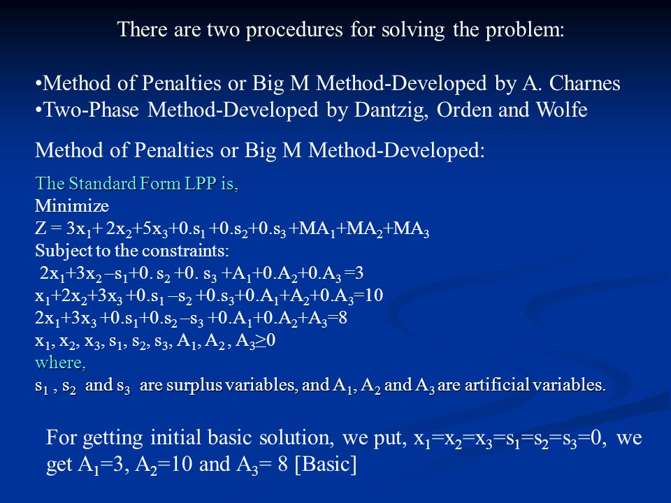 There are two procedures for solving the problem: