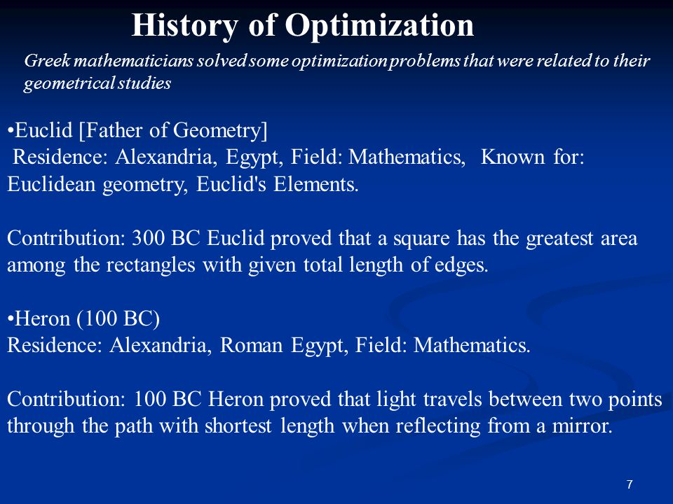 History of Optimization