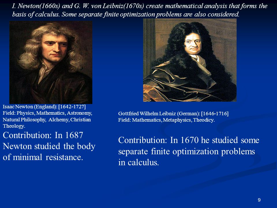 Contribution: In 1687 Newton studied the body of minimal resistance.