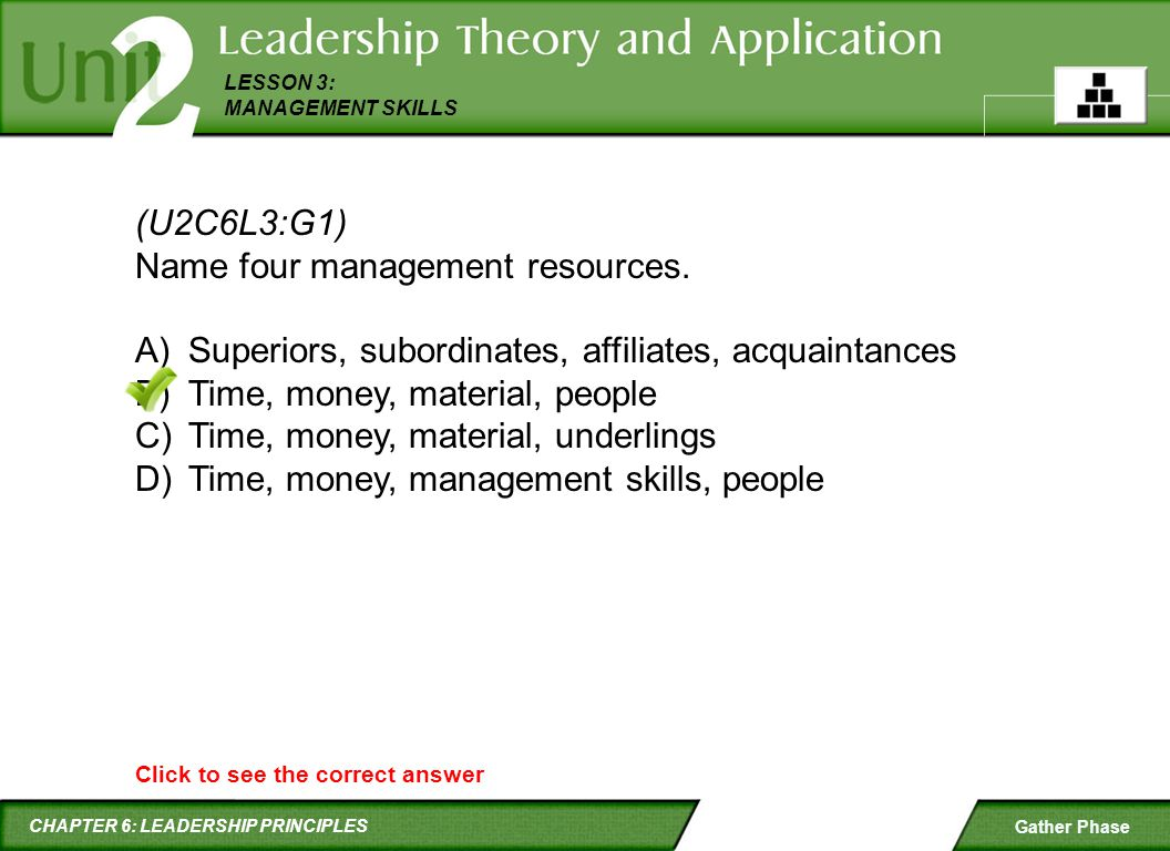 Name four management resources.