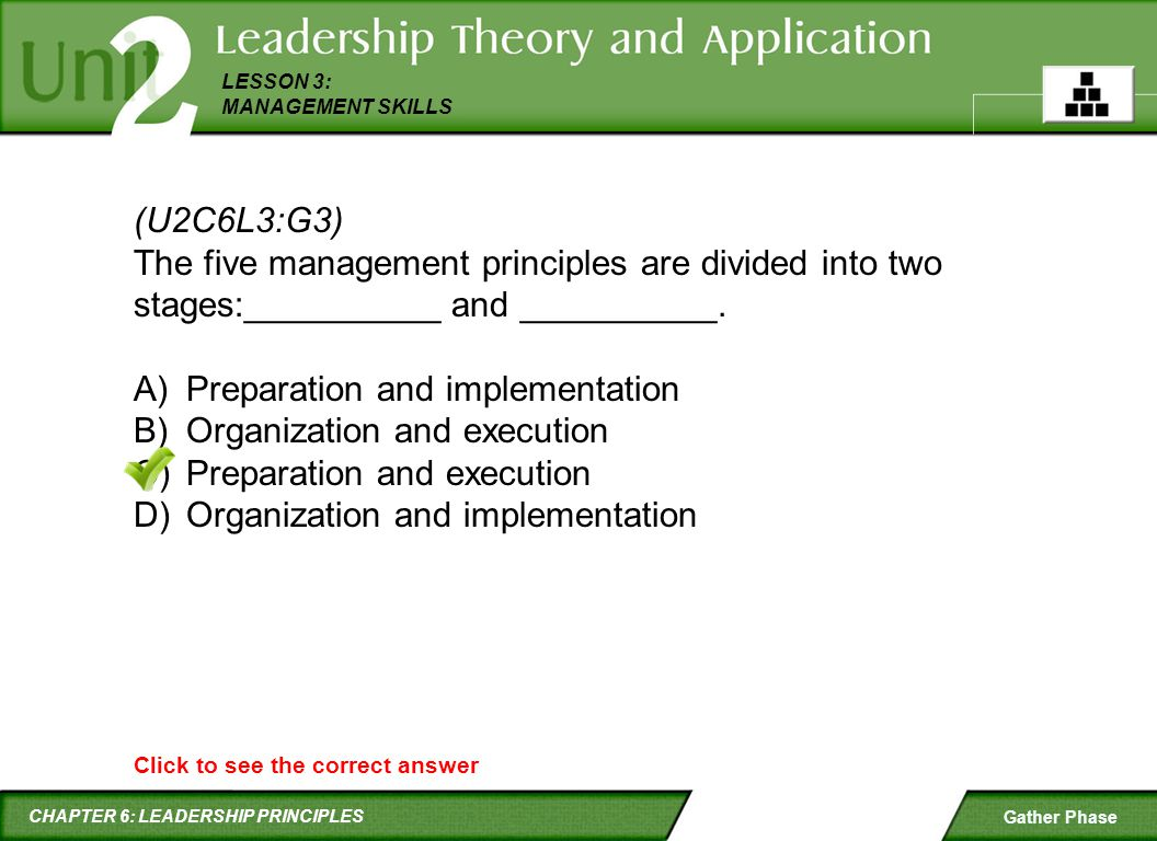 Preparation and implementation Organization and execution