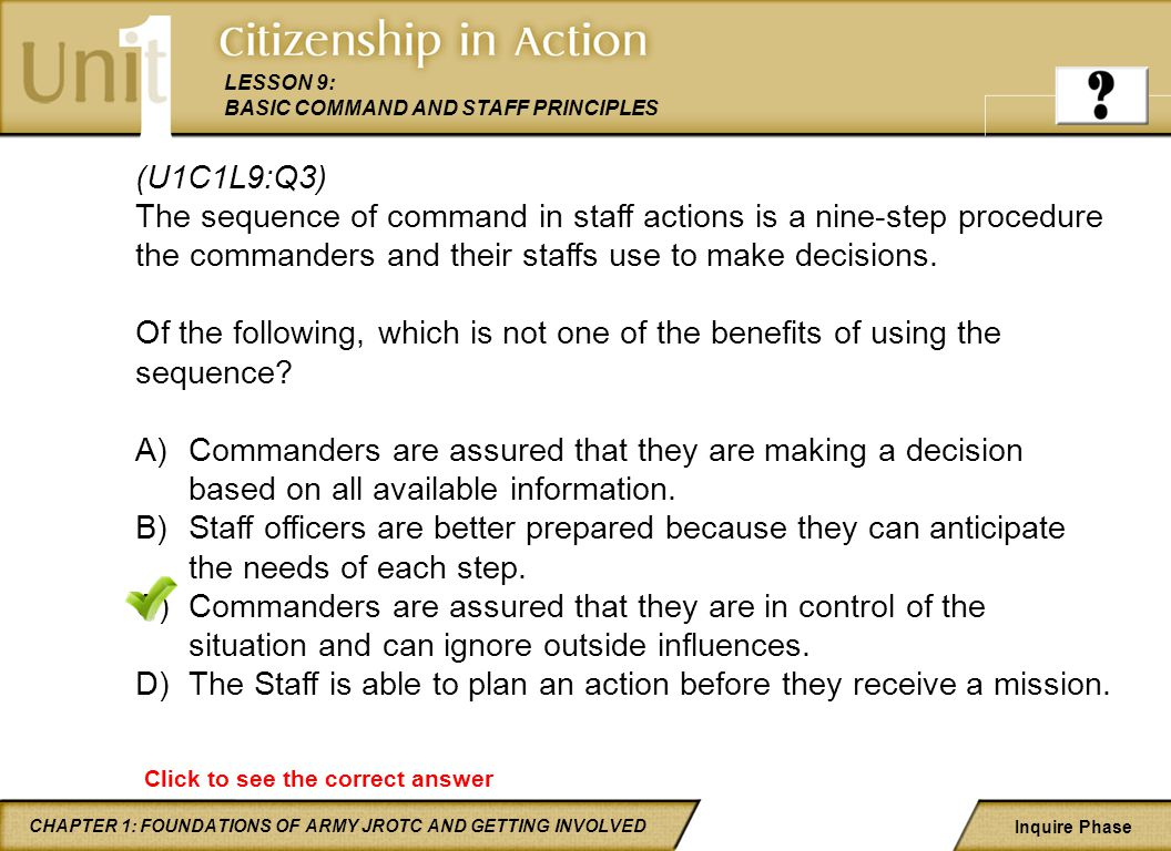 The Staff is able to plan an action before they receive a mission.