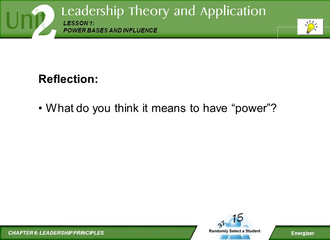 Reflection: What do you think it means to have power