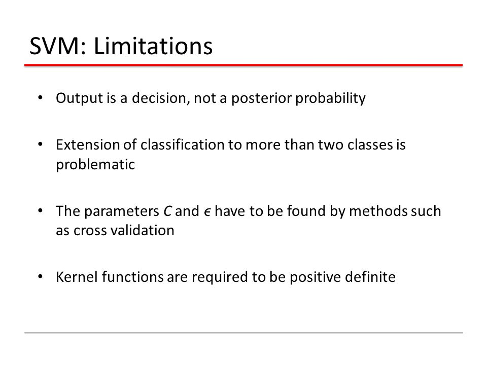 SVM: Limitations Output is a decision, not a posterior probability