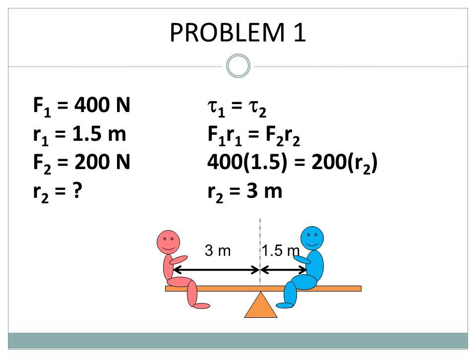 PROBLEM 1 F1 = 400 N r1 = 1.5 m F2 = 200 N r2 = 1 = 2 F1r1 = F2r2