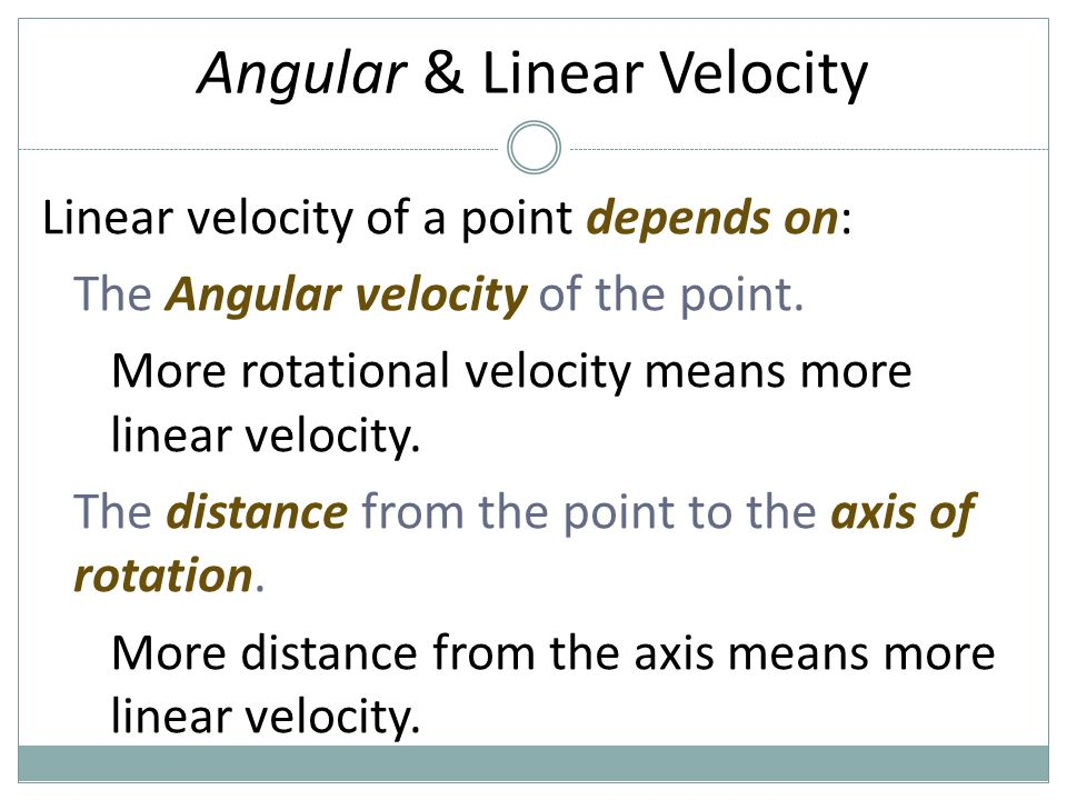 Angular & Linear Velocity