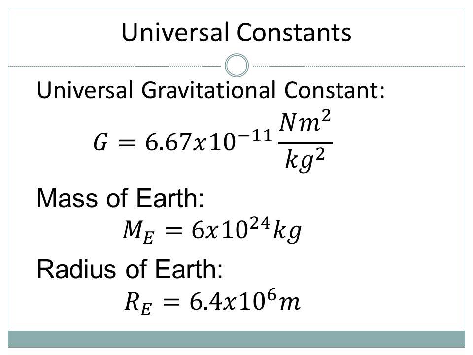 Universal Constants Universal Gravitational Constant: