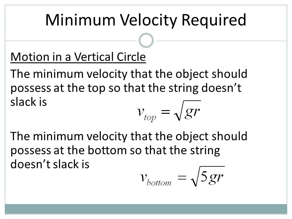Minimum Velocity Required