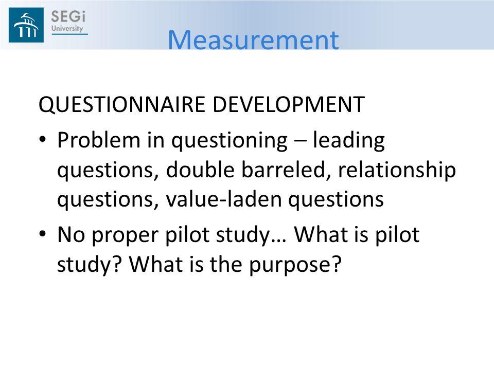 Measurement QUESTIONNAIRE DEVELOPMENT