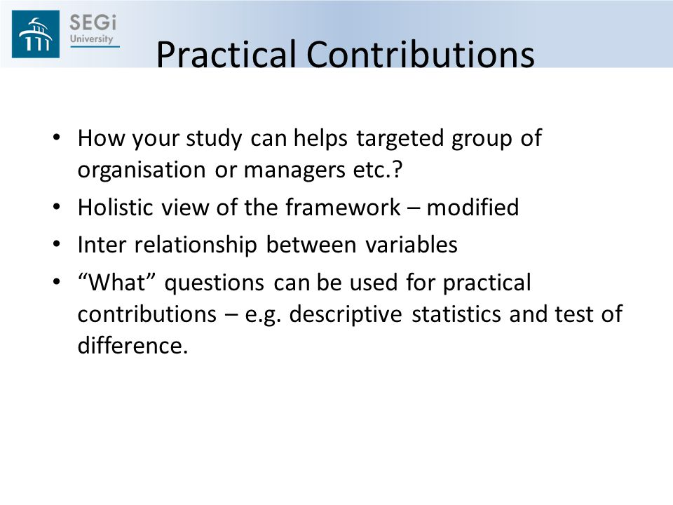 Practical Contributions
