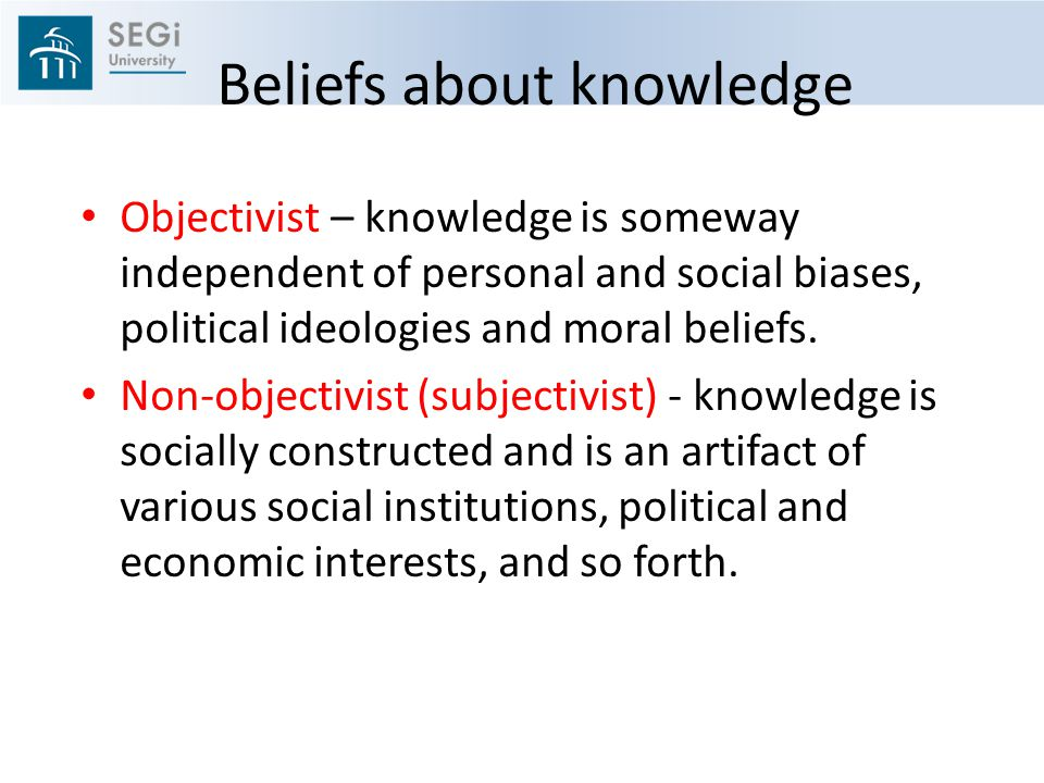 Beliefs about knowledge