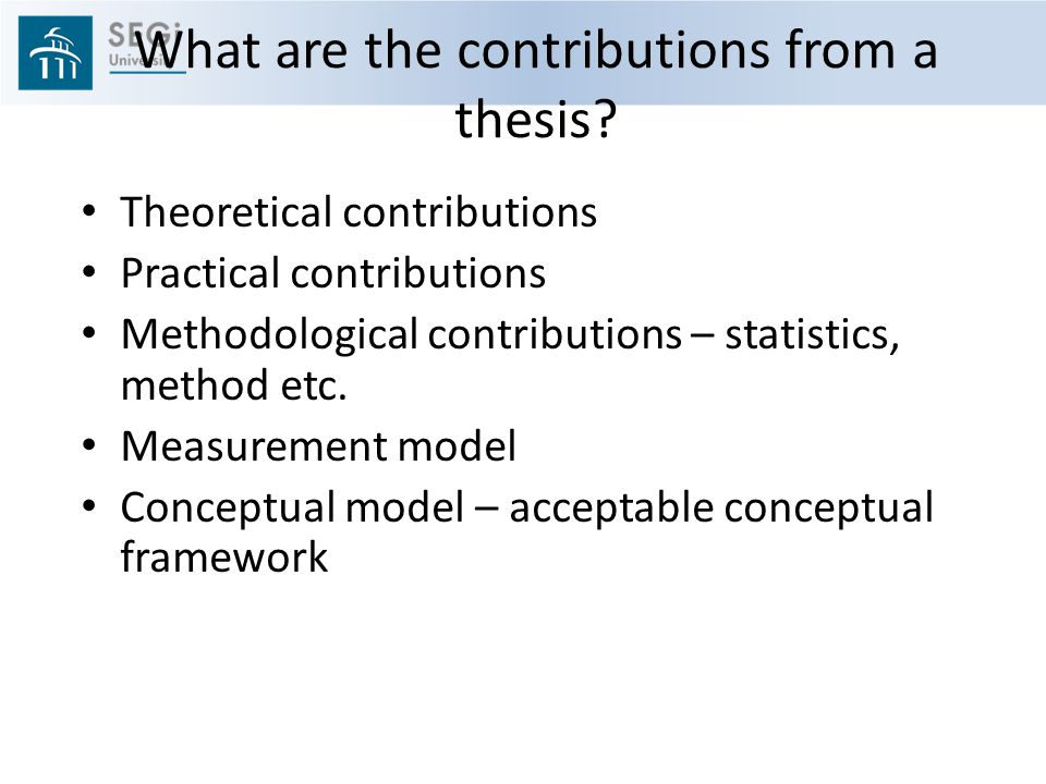 What are the contributions from a thesis