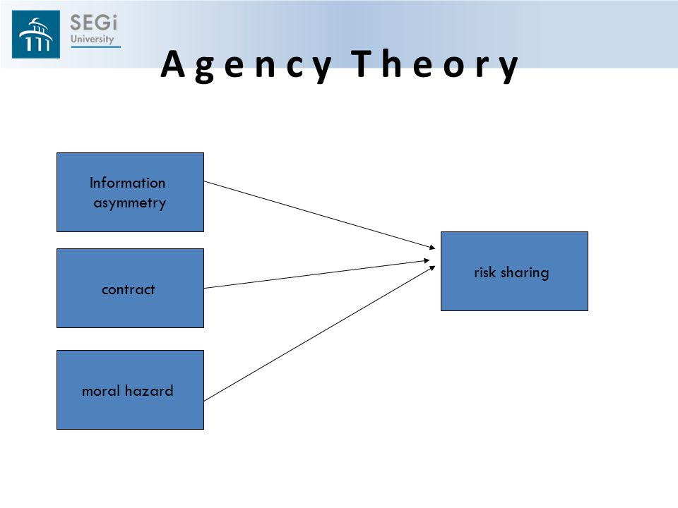 A g e n c y T h e o r y Information asymmetry risk sharing contract