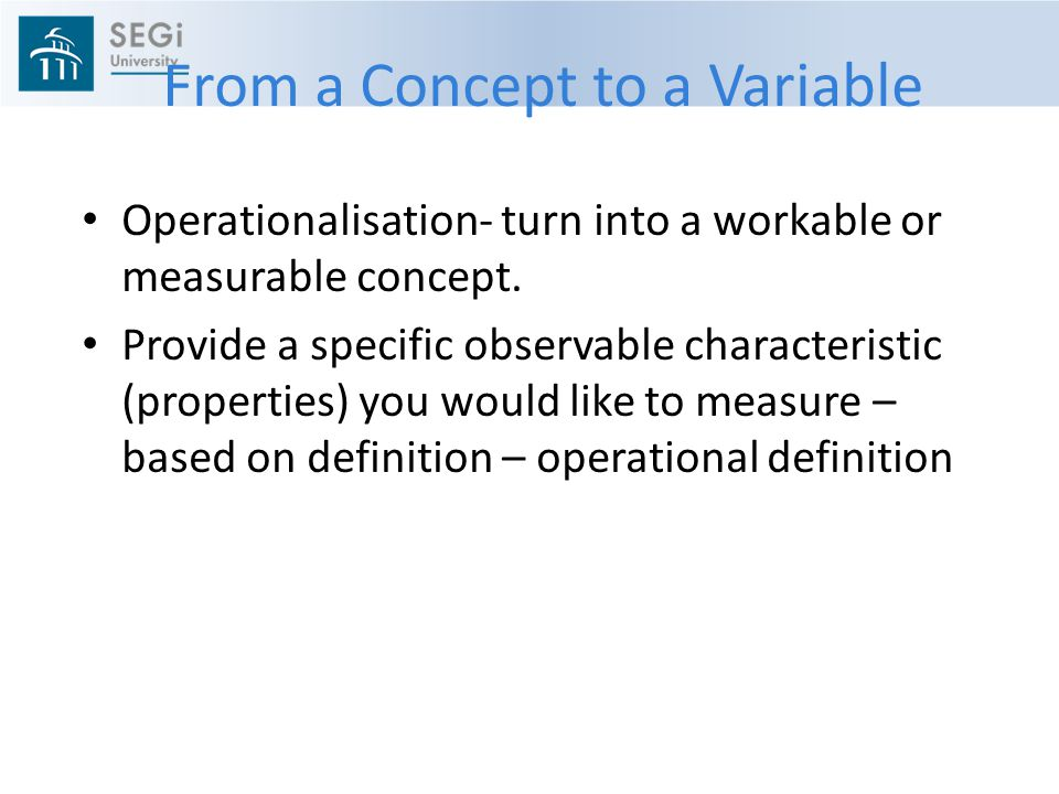 From a Concept to a Variable