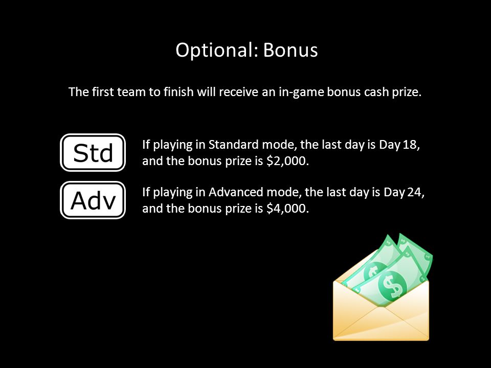 The first team to finish will receive an in-game bonus cash prize.