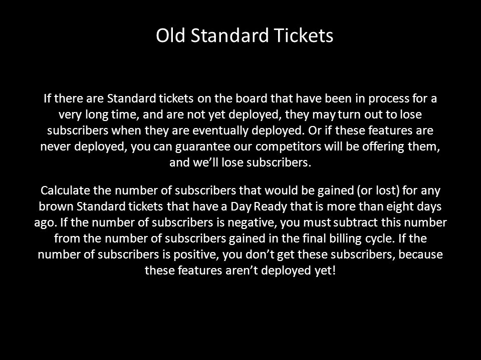 Old Standard Tickets
