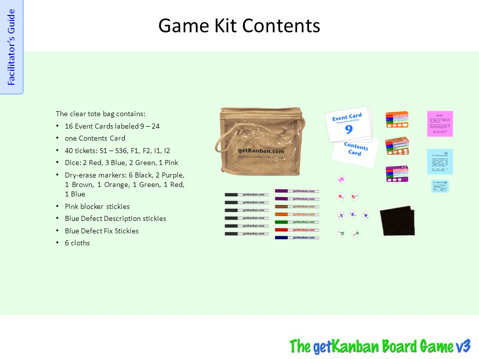 Game Kit Contents Facilitator's Guide The clear tote bag contains: