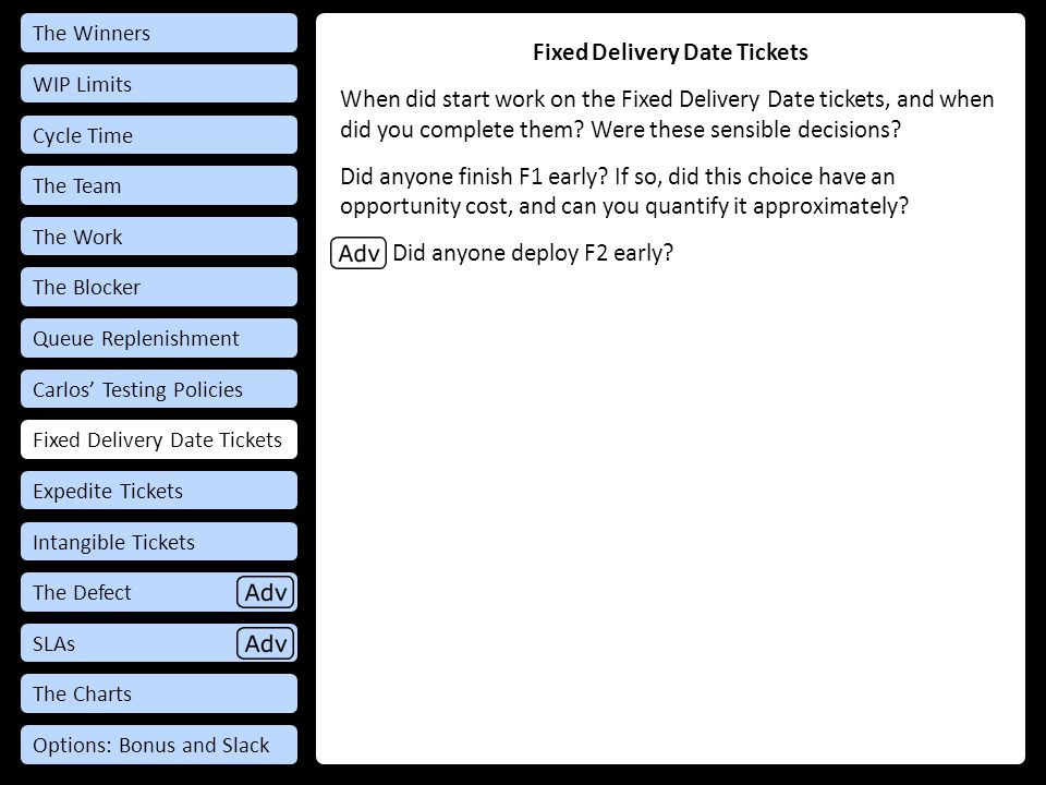 Debrief: Fixed Delivery Date Tickets