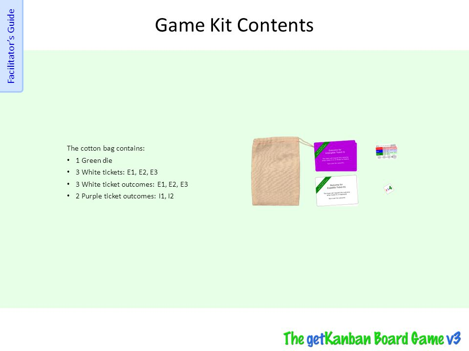 Game Kit Contents Facilitator's Guide The cotton bag contains:
