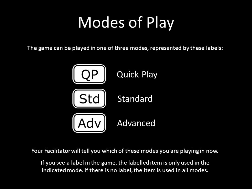 Modes of Play Quick Play Standard Advanced