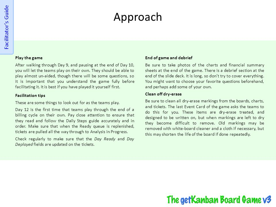 Approach Facilitator's Guide Play the game