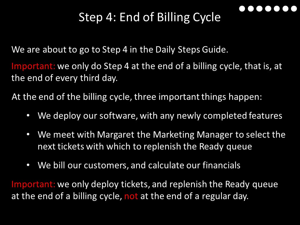 Step 4: End of Billing Cycle