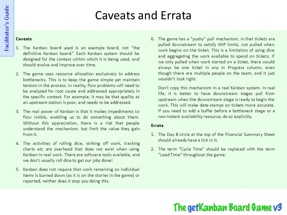 Caveats and Errata Facilitator's Guide Caveats