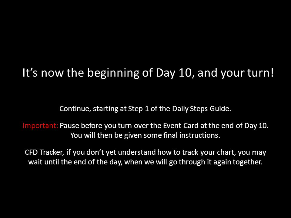 It's now the beginning of Day 10, and your turn!
