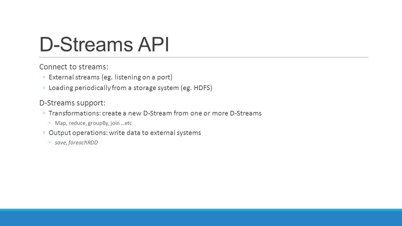 D-Streams API Connect to streams: D-Streams support: