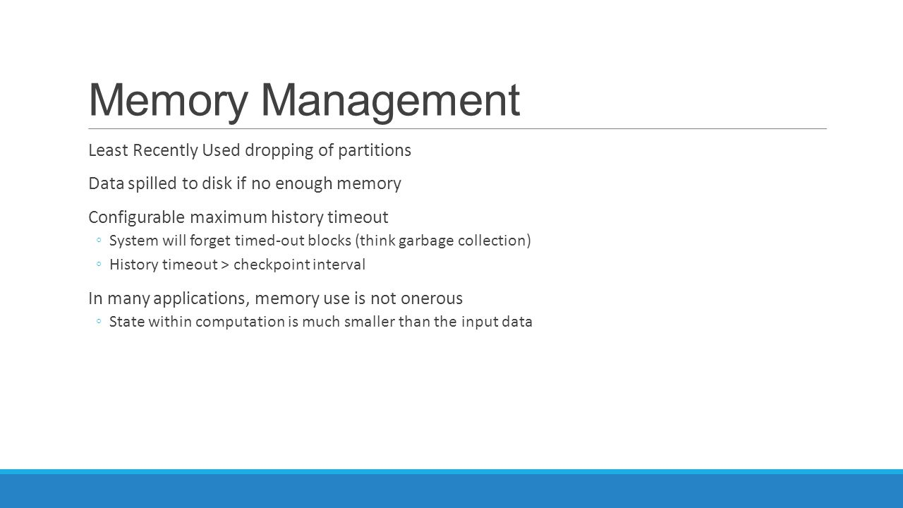 Memory Management Least Recently Used dropping of partitions