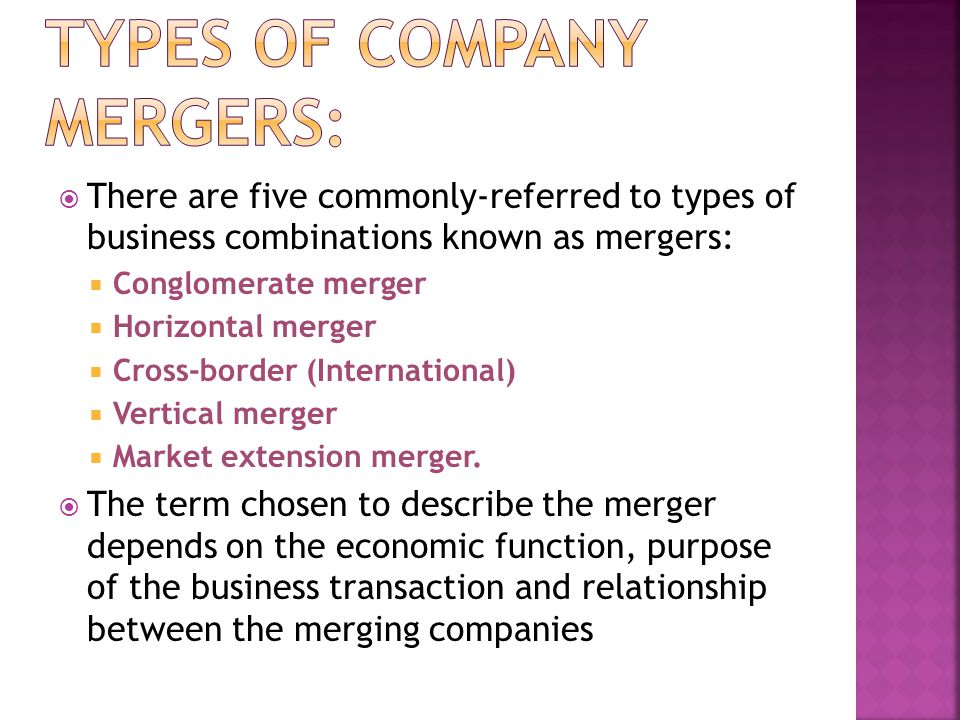 Types of Company Mergers: