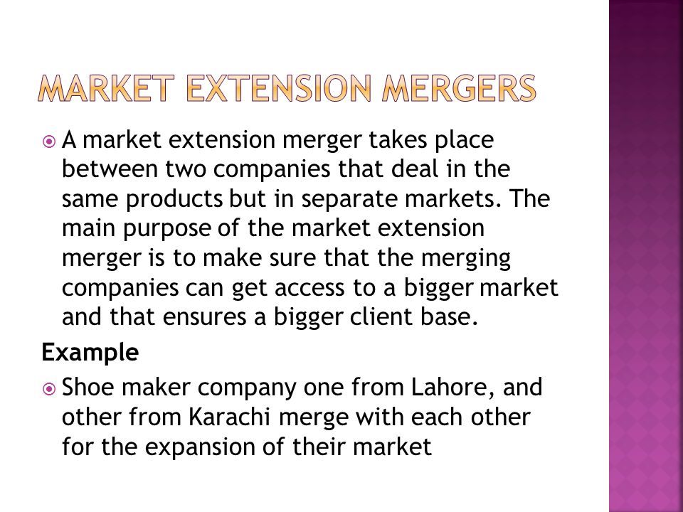 Market Extension Mergers