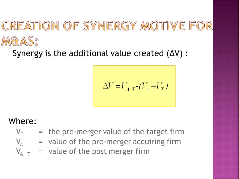 Creation of Synergy Motive for M&As: