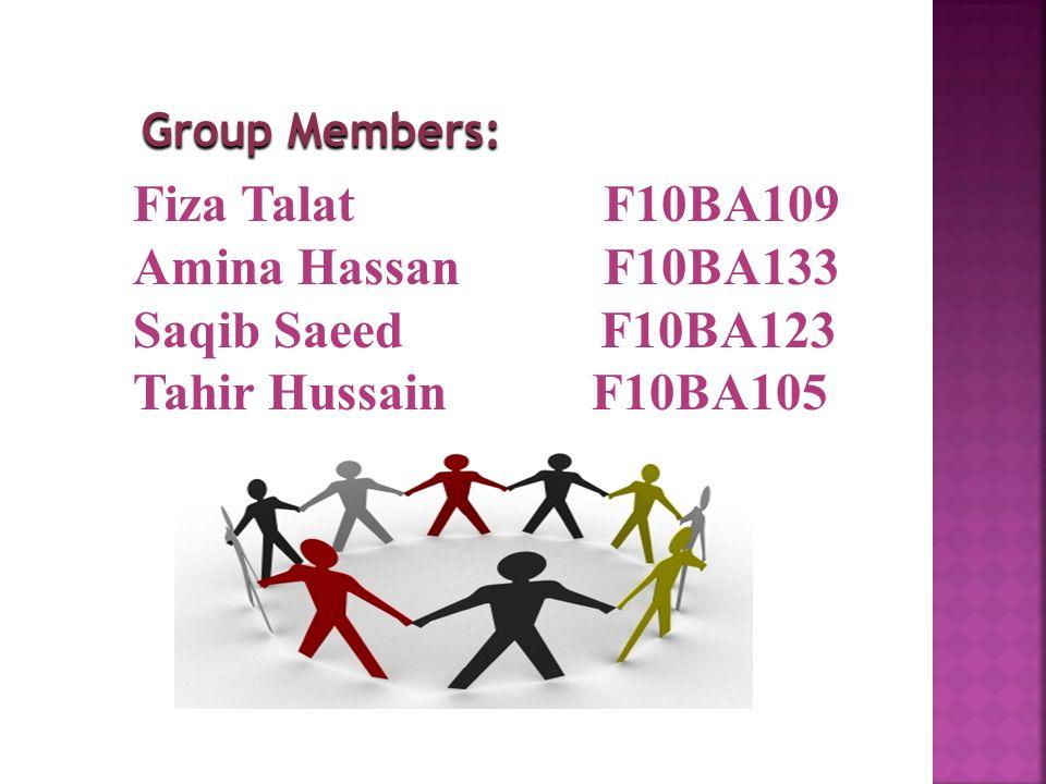 Fiza Talat F10BA109 Amina Hassan F10BA133 Saqib Saeed F10BA123